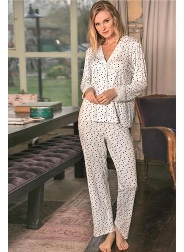 Anıl Puantiyeli Viskon Düğmeli Gömlek Pijama Takım Ekru